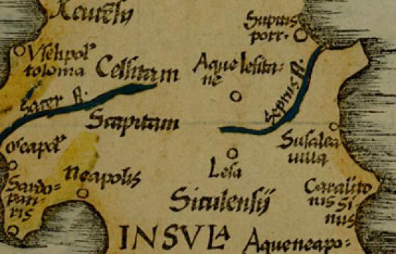 Il sito di Aquae Lesitane in una mappa del 1522