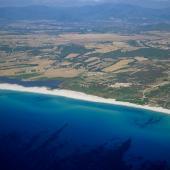 Muravera, veduta aerea della spiaggia di Piscina Rei